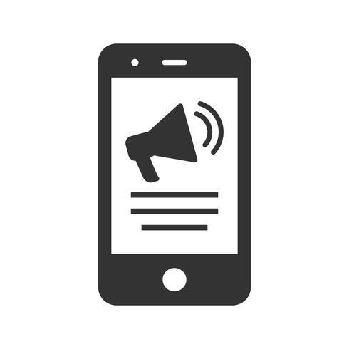 Icône de glyphe de marketing mobile vecteur