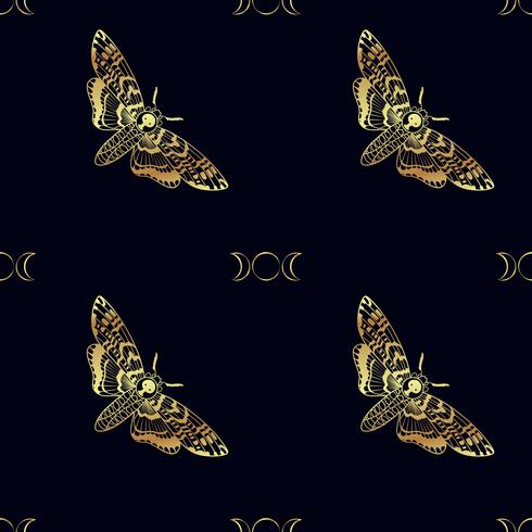 Butterfly Deaths head hawk moth seamless pattern