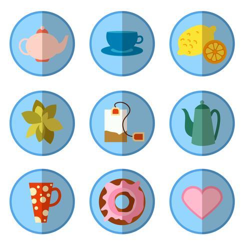 jeu d'icônes avec du thé dans un style plat vecteur