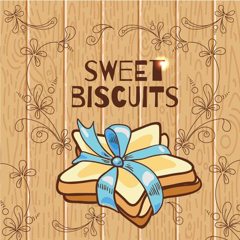 Cookies in the shape of a star with a blue ribbon on a wooden background