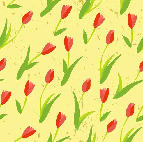 Plano de fundo sem emenda com tulipas coloridas.