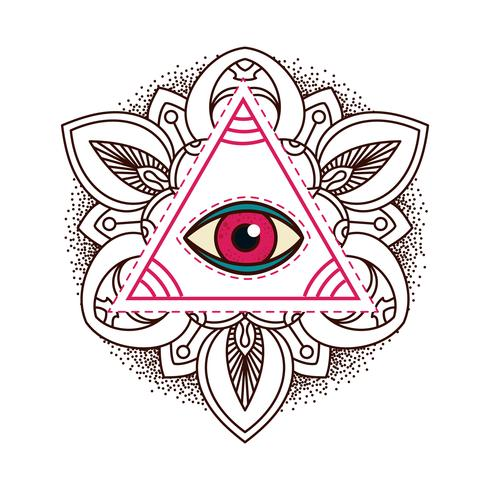 All-seeing eye pyramid symbol.