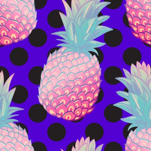 Modèle sans couture tendance créatif ananas vecteur