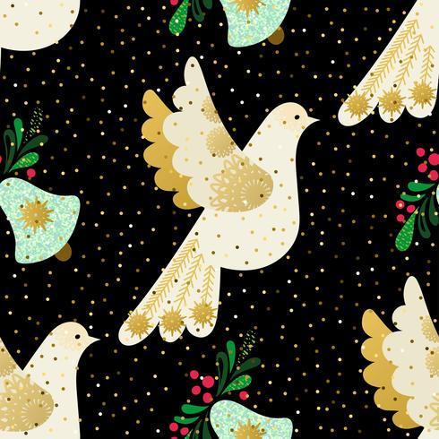 Paloma de la paz. Patrón de navidad sin fisuras vector