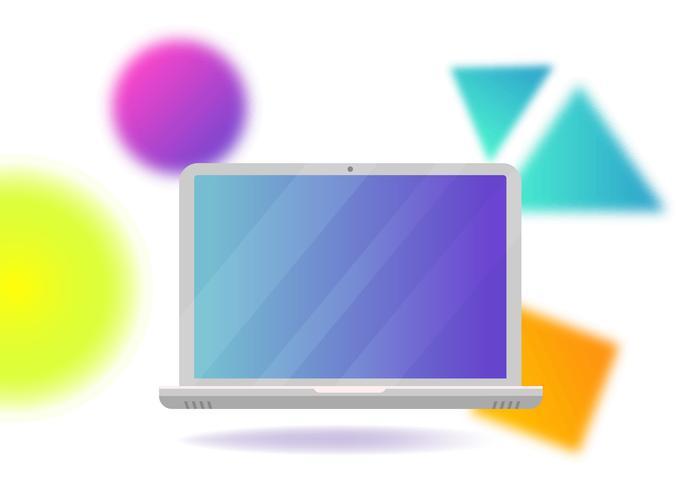 Voando laptop em um fundo abstrato de formas gradientes desfocadas