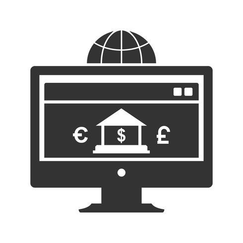 Ícones de Glyph de banca de Internet