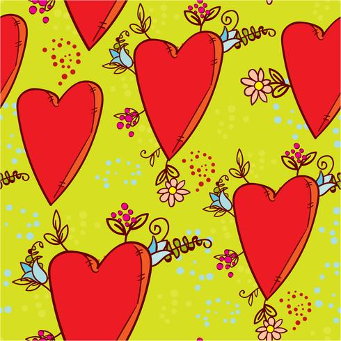 Seamless pattern with hearts and flowers with a doodle-style graphics sketch vector