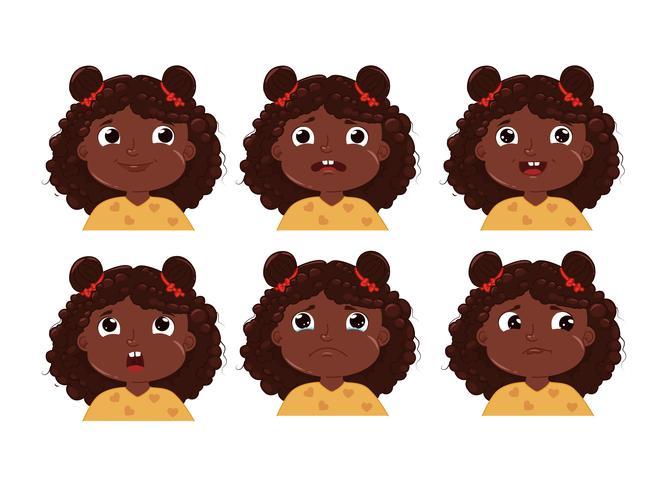 Niña con conjunto de pegatinas de emoción de personaje de piel negra