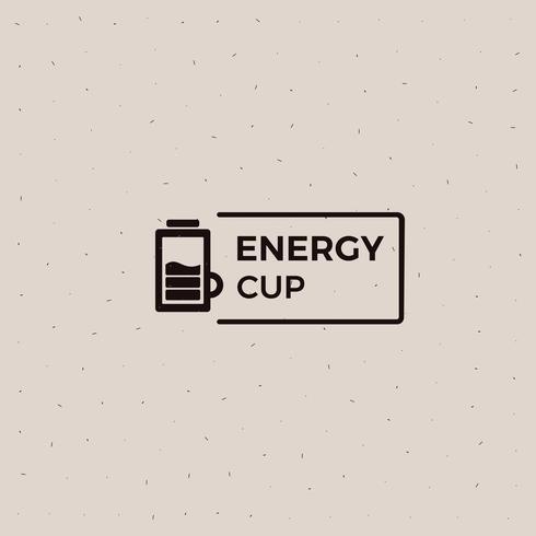 Logotipo da velha escola do copo de café da bateria da energia