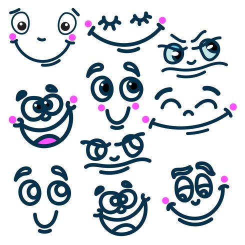 Cartoon face emotions set vector