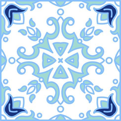 Portugese azulejotegels. Blauwe en witte prachtige naadloze patte