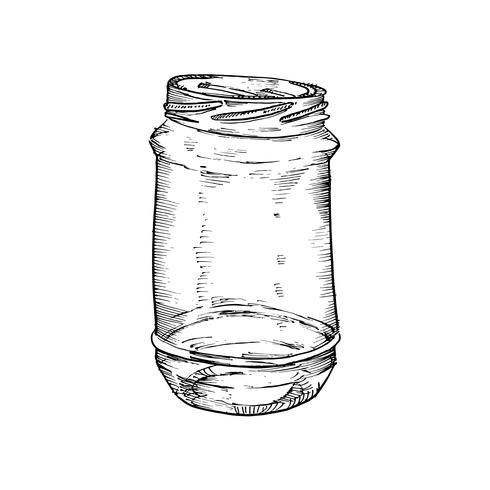 Rustic, mason and canning jars hand drawn set. Sketch design elements.