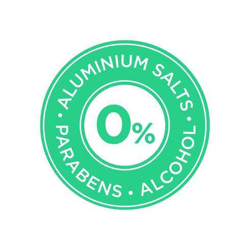 Sali di alluminio, parabeni e icona senza alcool.