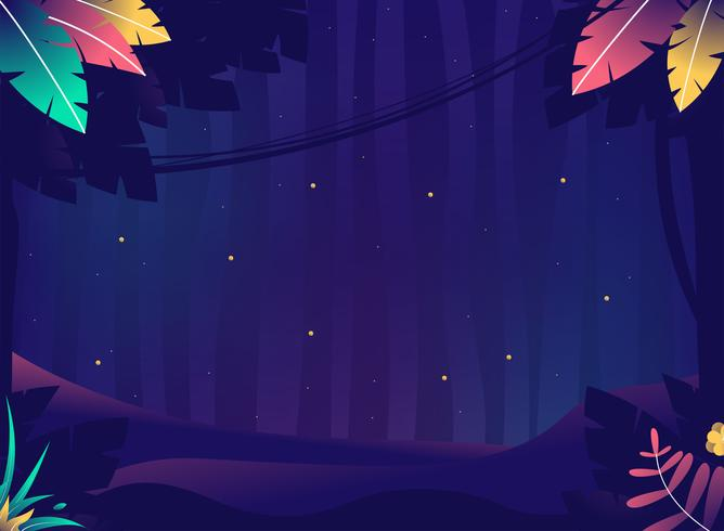 Summer night with crickets or Jungle with plants and stars vector