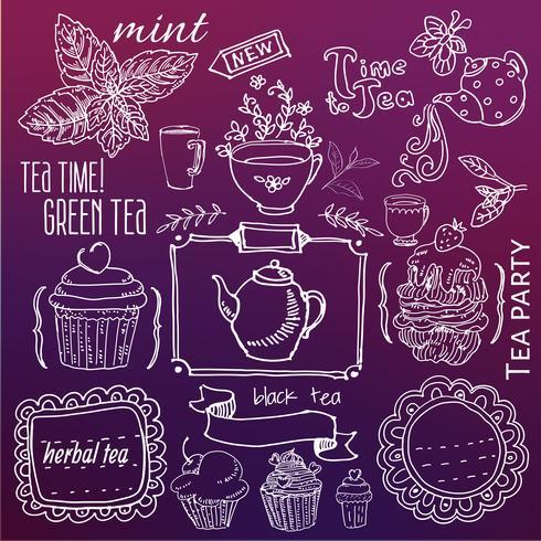 chá e doces - coleção de rabiscos