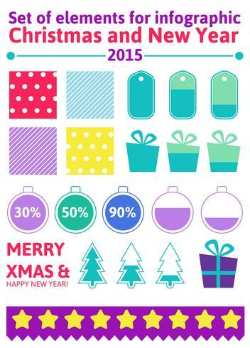Définir les éléments de Noël infographique dans un style plat