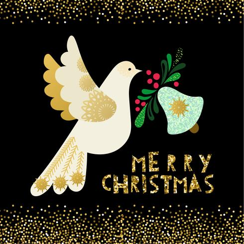 Colombe de paix. Carte d'invitation de Noël