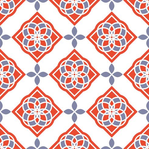 Portuguese azulejo tiles. Red and white gorgeous seamless patterns.  vector