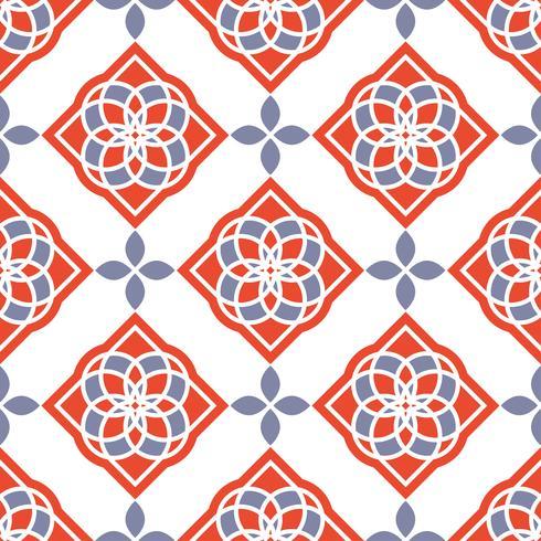 Carreaux d'azulejo portugais. Modèles sans couture magnifiques rouges et blancs. vecteur
