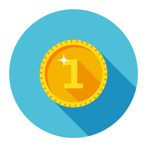 Ícone de moeda de ouro com o número um.