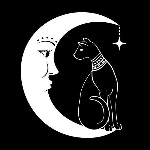 O gato na lua. Ilustração vetorial Pode usar como tatuagem, design boho, design do dia das bruxas