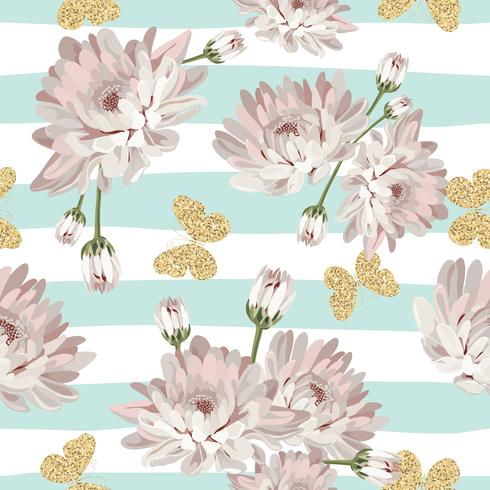 Floral seamless pattern with glittering butterflies vector