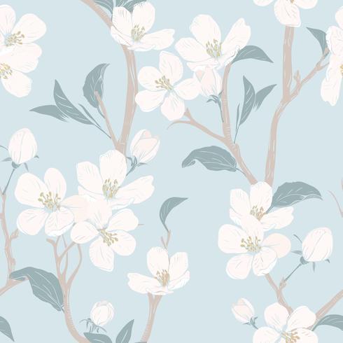 Blommande träd. Sömlöst mönster med blommor. Vårblommig konsistens. Handdragen botanisk vektor illustration