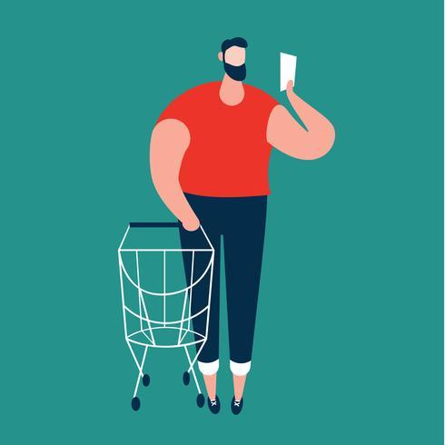 Man kontrollerar inköpslista och bär shoppingvagn i stormarknad. vektor
