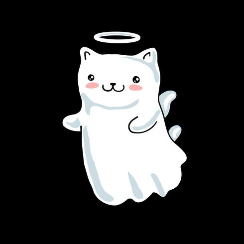Cartoon cat pictured as a little angel with wings and halo in japanese kawaii style. Isolated on black background. vector