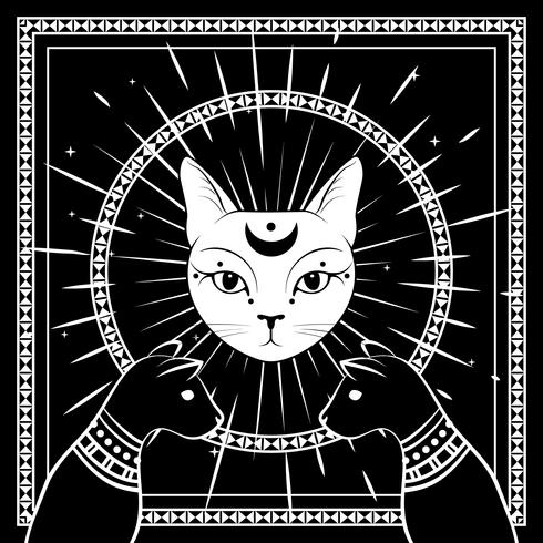 Black cats, cat face with moon on night sky with ornamental round frame. Magic, occult design. vector