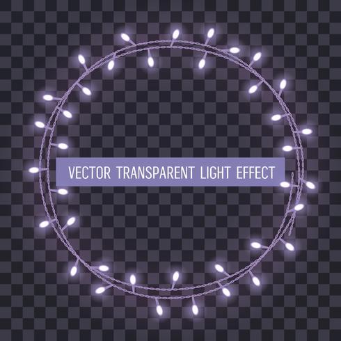 Marco redondo de luces de cadena superpuestas y brillantes sobre un fondo transparente. Ilustración vectorial