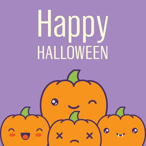 Tarjeta de Halloween con calabazas kawaii. Ilustración vectorial
