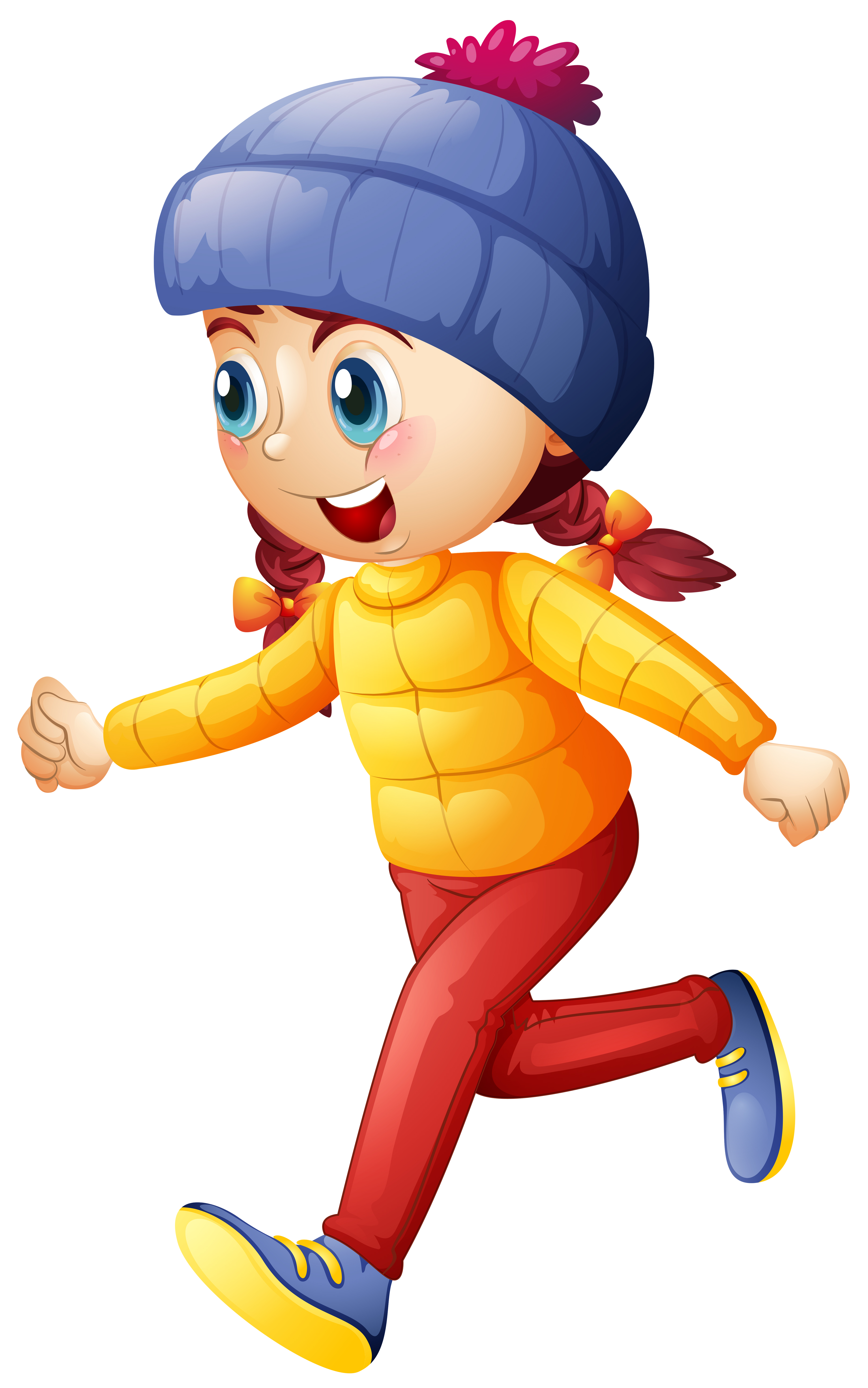Little girl in winter clothes running - Download Free ...