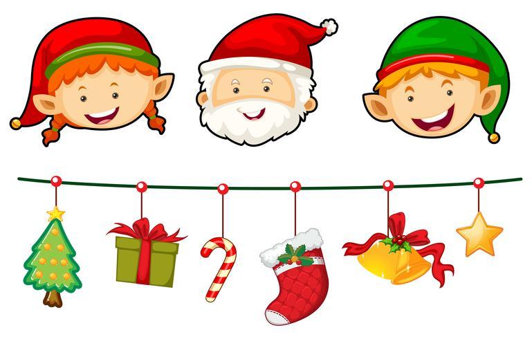 Set de Noël avec Père Noël et elfe vecteur