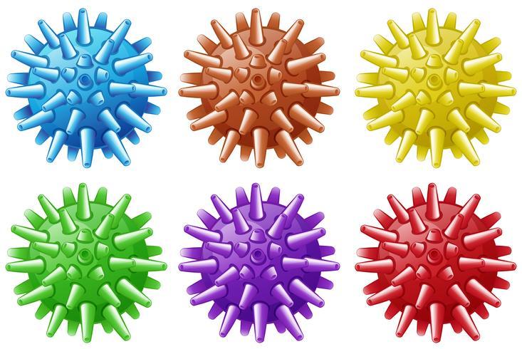 Zes ballen met spikes in verschillende kleuren vector