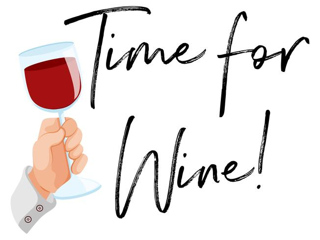 Time for wine with glass of red wine vector