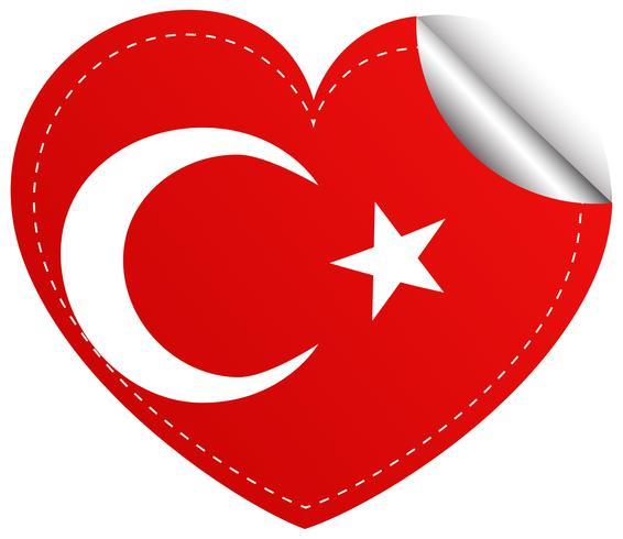 Création d'autocollant pour le drapeau de la Turquie en forme de coeur