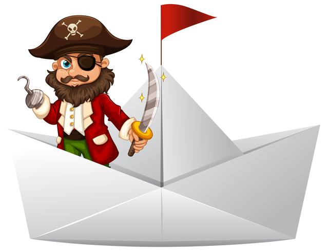 Pirat mit der Klinge, die auf Papierboot steht
