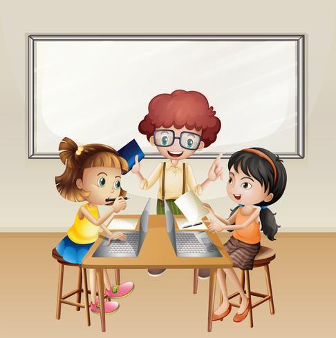 Kids working on computer in classroom vector