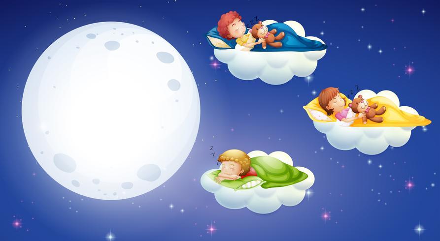 Niños durmiendo en la noche.