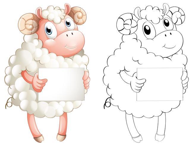 Tierentwurf für Schafe, die Papier halten