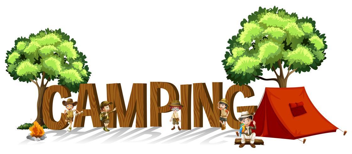 Lettertypeontwerp voor woordkamperen met kinderen en tent