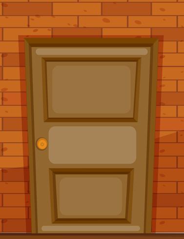 Puerta de madera en pared de ladrillo