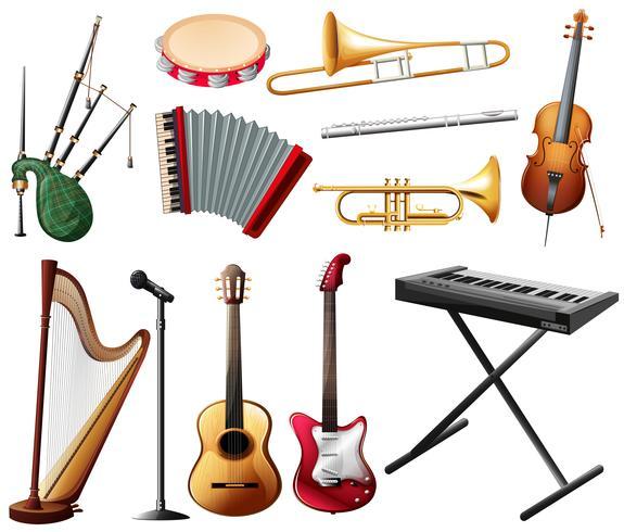 Diferentes tipos de instrumentos musicales en blanco. vector