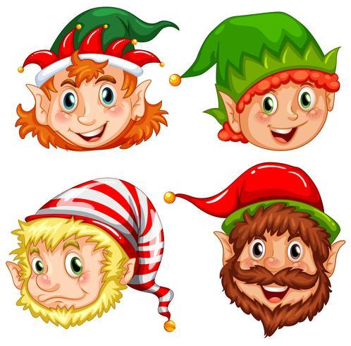 Quatro personagens de elfos de Natal