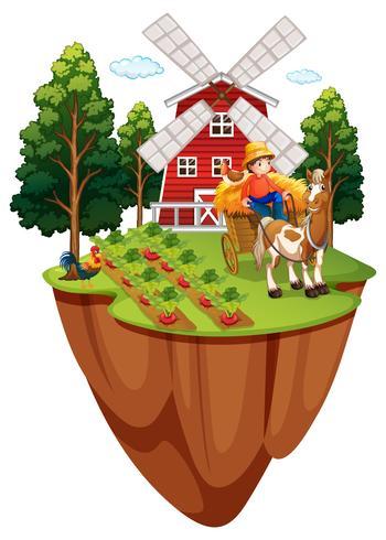 Boer te paard in de boerderij