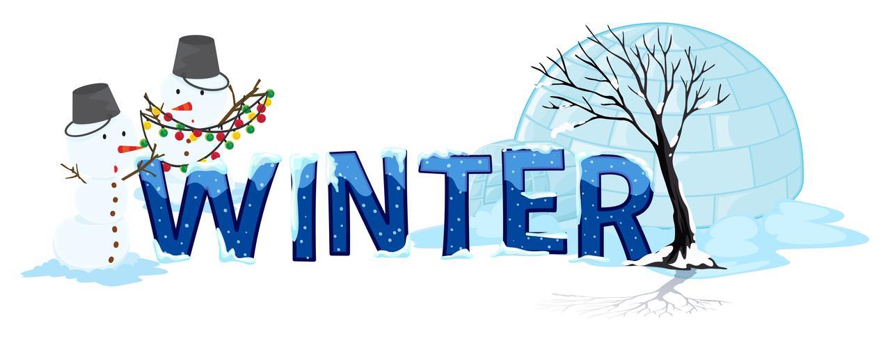 Design de fonte com inverno de palavra