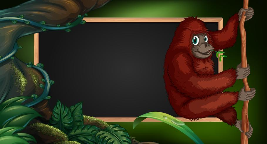 Border template with gorilla in the wild