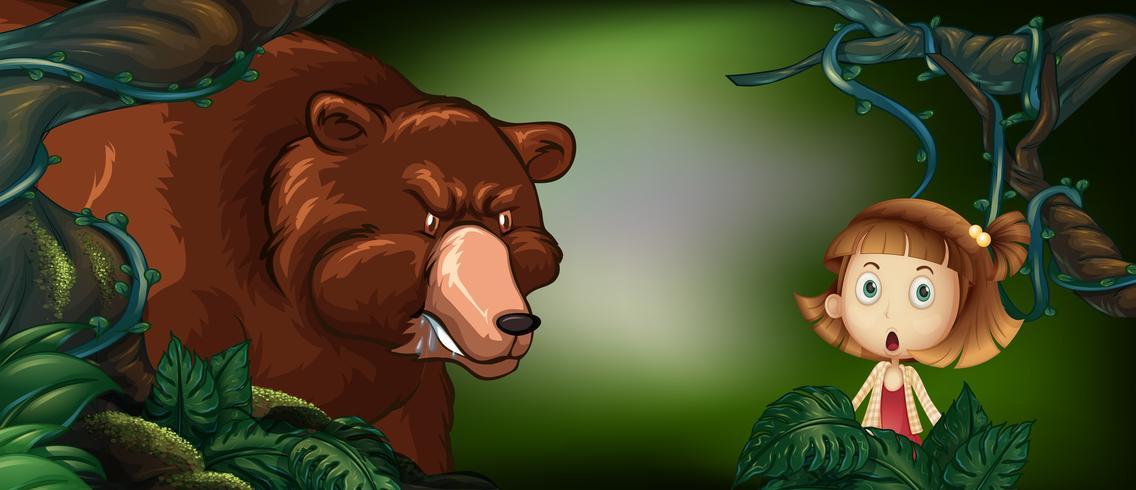 Gros ours et petite fille dans les bois