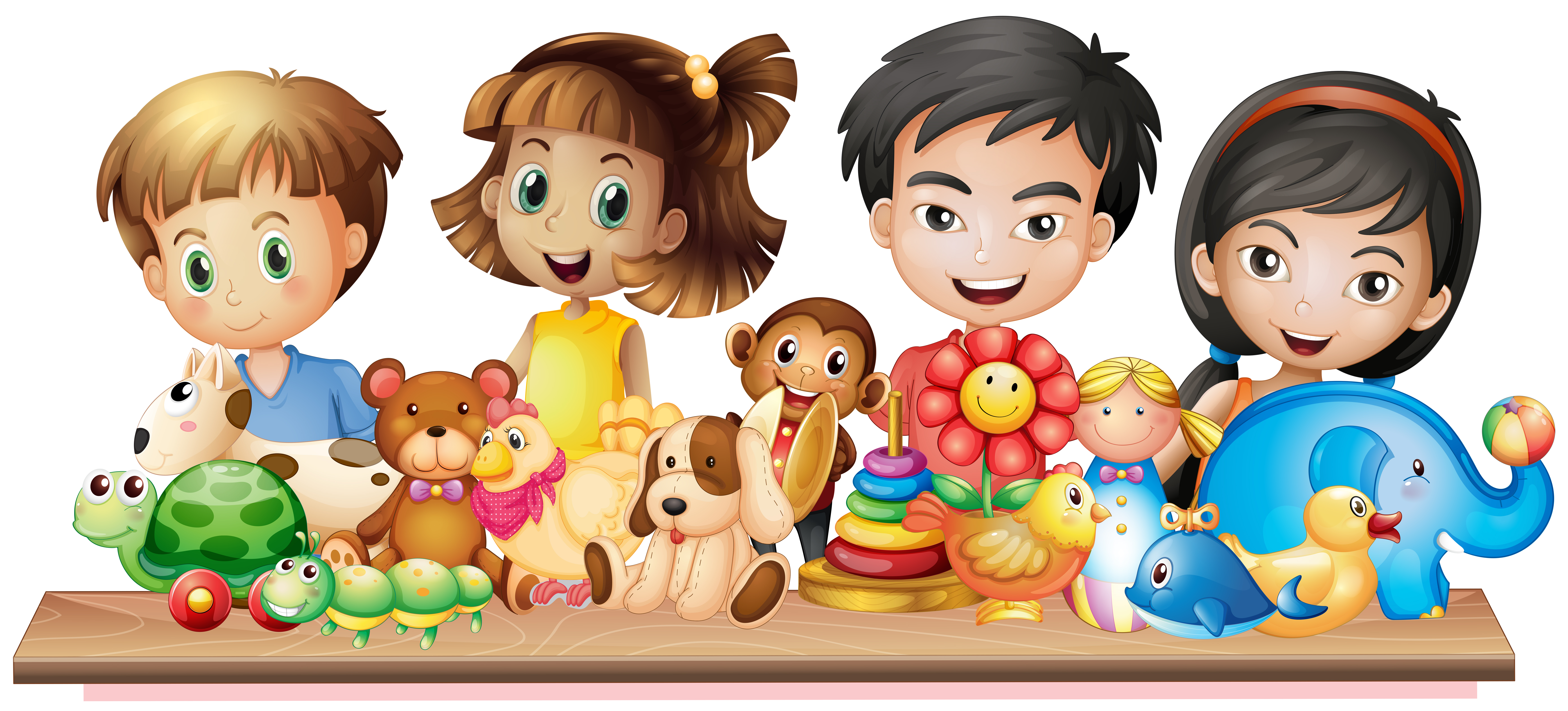 Many children looking at cute toys - Download Free Vectors ...